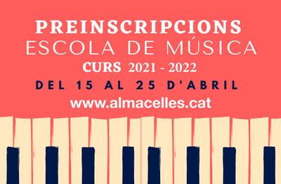 Preinscripcions Escola de Música Almacelles